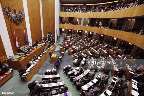 The Austrian parliament holds its last session on September 24, 2008 in Vienna ahead of September 28 general election in Austria. AFP PHOTO/DIETER...