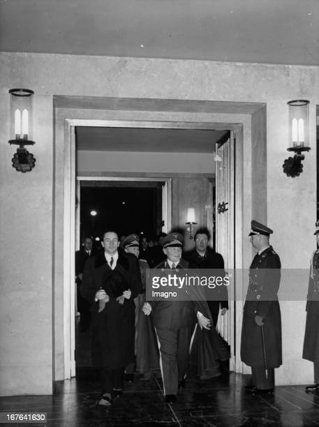 The Austrian state secretay for foreign affairs Dr. Guido Schmidt at his visit in the German Ministry of Aviation. Minister Hermann Göring . November...
