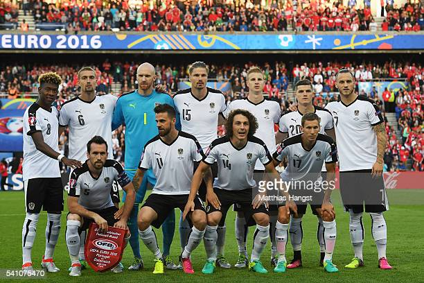 The Austrian team pose for photos prior to the UEFA EURO 2016 Group F match between Portugal and Austria at Parc des Princes on June 18 2016 in Paris...