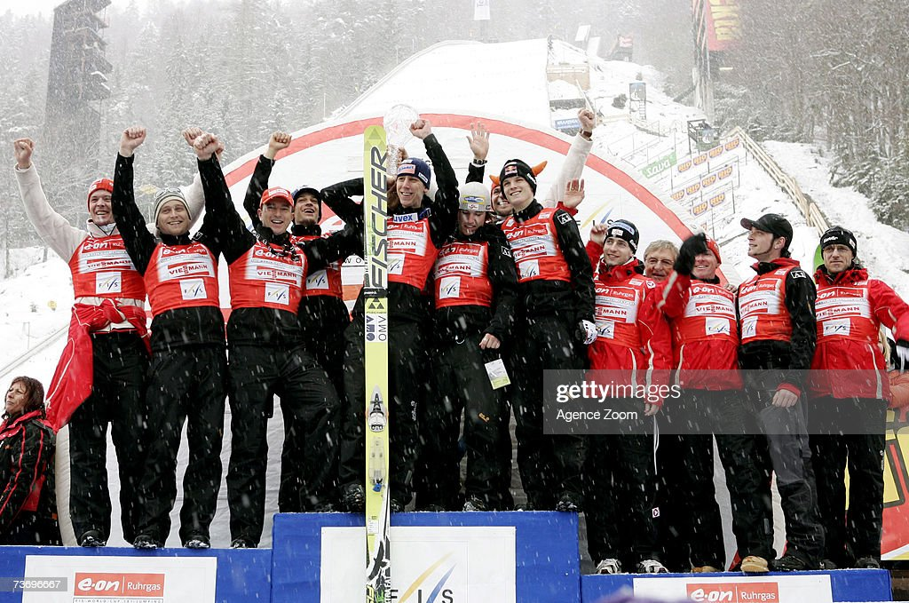 The Austrian team stand on the podium during the FIS Ski Jumping World Cup HS 215 event on March 25, 2007 in Planica, Slovenia.