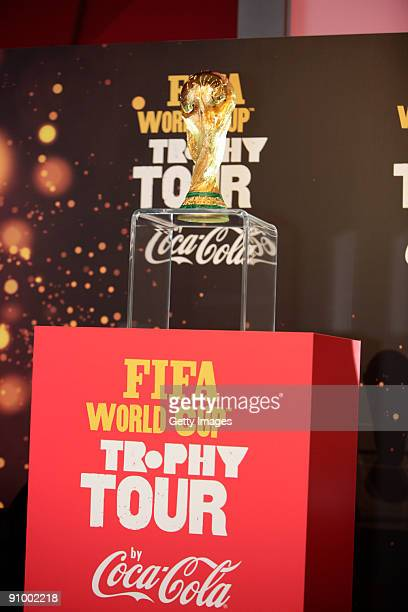 The authentic FIFA World Cup Trophy on display at the ceremonial start of the FIFA World Cup Trophy Tour by Coca-Cola at FIFA headquarters on...