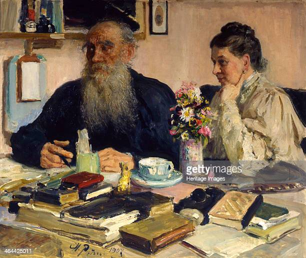 'The author Leo Tolstoy with his wife in Yasnaya Polyana', 1907. Tolstoy married Sophia Andreyevna Behrs in 1862. Yasnaya Polyana, near Tula, Russia,...
