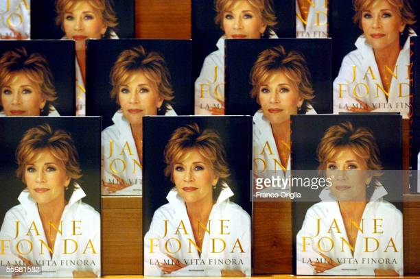 The autobiography of the American actress Jane Fonda My Life So Far is seen at the Auditorium della Musica on October 21 2005 in Rome Italy
