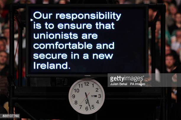 The autocue Sinn Fein President Gerry Adams was reading from at his Ard Fheis at the RDS in Dublin