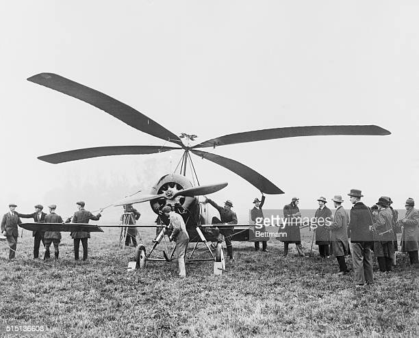 The autogiro man's newest airplane LondonPhoto shows the new wonder aircraft which reproduces bird flight mechanically and achieves that which...