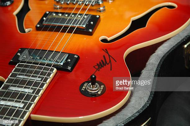The autographed guitar on display at the ASCAP Tribeca Music Lounge held at the Canal Room during the 2007 Tribeca Film Festival on May 1 2007 in New...