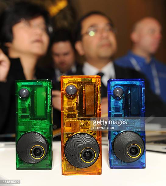 The Autographer handsfree intelligent wearable camera is displayed at the 2014 International CES in Las Vegas Nevada January 7 2014 The 35' tall...