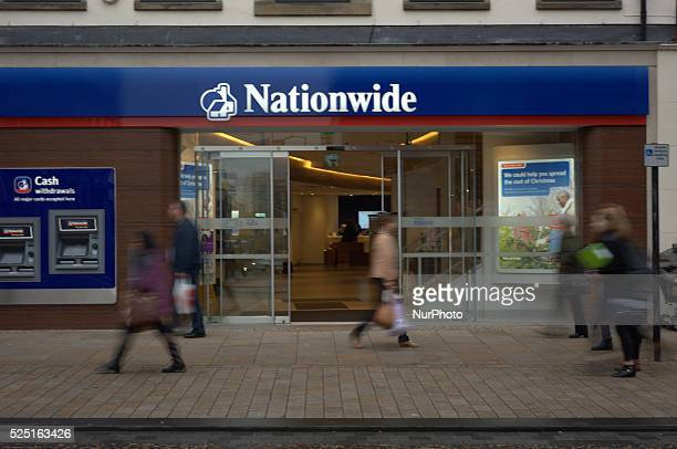 The automatic doors of a Nationwide Building Sociey opening as people walk by on November 27 2014 National and international banks and building...