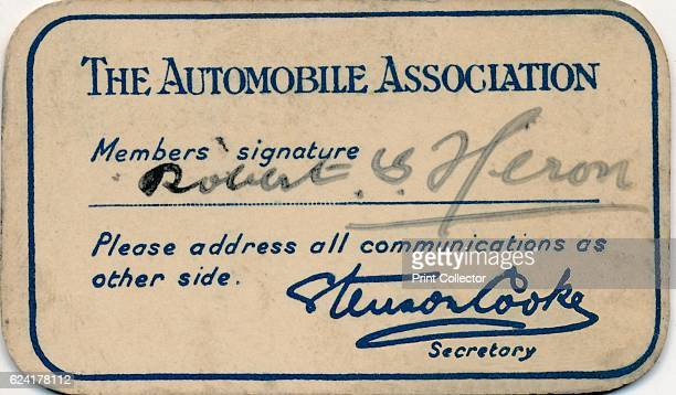 Membership card' 1936 The Automobile Association was founded in 1905 to help motorists avoid police speed traps in response to the Motor Car Act...