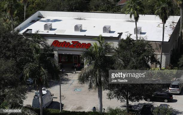 The AutoZone at 801 S State Road 7 is seen where Cesar Sayoc a 56yearold man from Aventura Florida was arrested in the possible connection with pipe...