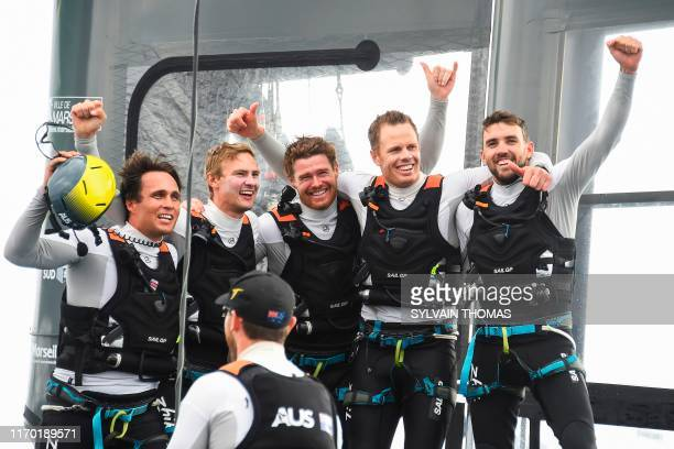 The Autralia SailGP team celebrates after winning the SailGP Final in Marseille southern France on September 22 2019 The SailGP brings together...