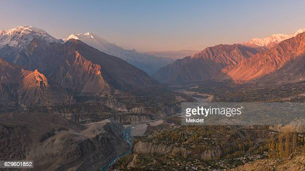 the autumn landscape of hunza valley, karakoram highway, pakistan - hunza valley stock pictures, royalty-free photos & images