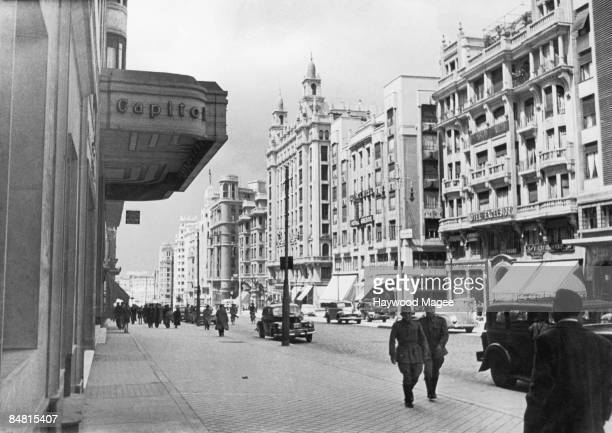 The Avenida Jose Antonio in Madrid with the Capitol Cinema on the left and the Hotel Excelsior on the right 1946 Original Publication Picture Post...