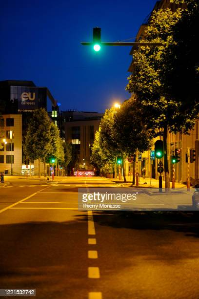 The Avenue de Cortenbergh is seen empty during the shortest night of the year on June 20 2020 in Brussels Belgium