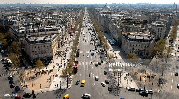 The Avenue des Champs-Elysees is viewed from atop the Arc de Triomphe in Paris, France, on Wednesday, April 16, 2008. The Champs-Elysees is now the...