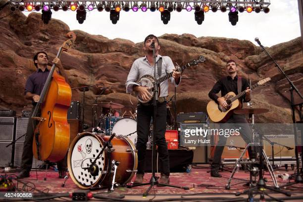 The Avett Brothers performing at Red Rocks Amplitheater in Morrison Colorado on September 2 2010