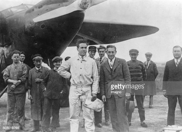 The aviators Rene Lefévre and Jean Assolant before their ocean flight Le Bourget 4th September 1928 Photograph