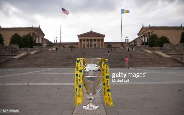 The Aviva Premiership Rugby Trophy rests in front of the Philadelphia Art Museum on September 14 2017 in Philadelphia Pennsylvania