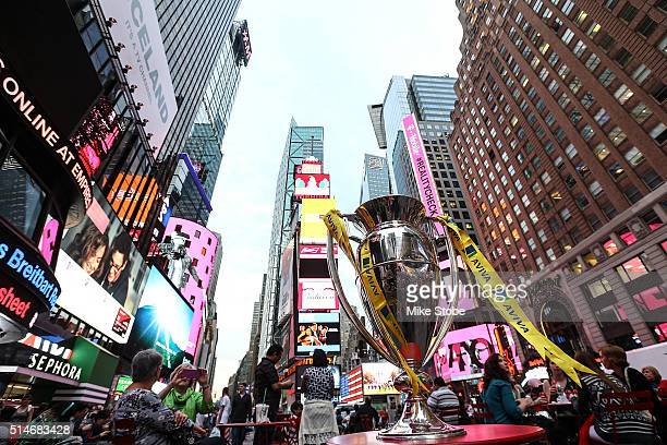 The Aviva Premiership trophy is seen in Time Square during a media event to mark the first Aviva Premiership Rugby match to be played outside of the...