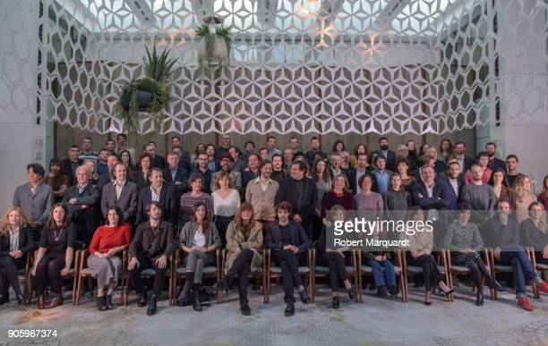 The award candidates pose for the press during a candidate presentation for the 10th Gaudi Awards 2018 at the Hotel Mandarin Oriental on January 17...