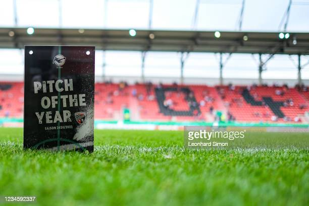 The award PITCH OF THE YEAR on the pitch of the Audi Sportpark ahead of the DFB Cup first round match between FC Ingolstadt 04 and Erzgebirge Aue at...