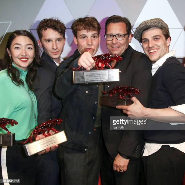 The award winner Mia Spengler Jonathan Berlin and Jonas Dassler with Robert Poelzer chief editor Bunte magazine during the New Faces Award Film at...