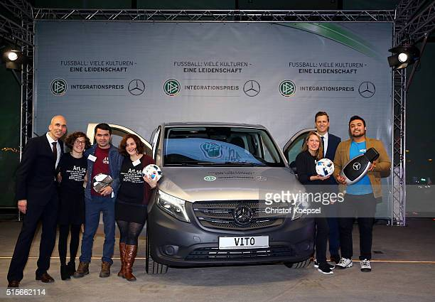 The award winner school Champions ohne Grenzen pos with the new Voto Mercedes car during the DFB Mercedes Benz Integration Prize Award Gala at German...