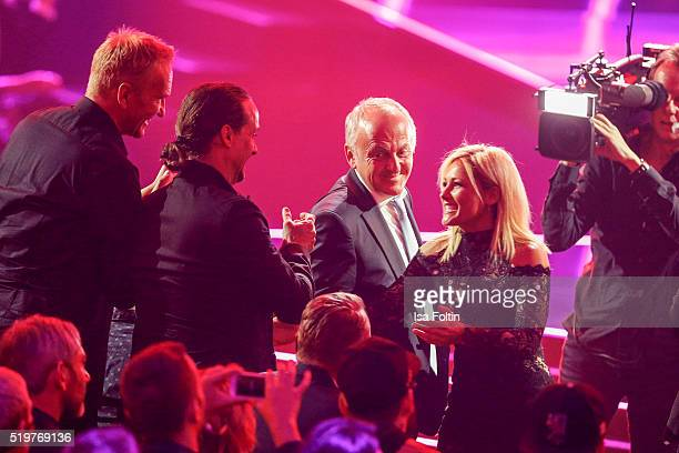 The award winners Alex Christensen and Helene Fischer are seen on stage during the Echo Award 2016 show on April 07 2016 in Berlin Germany