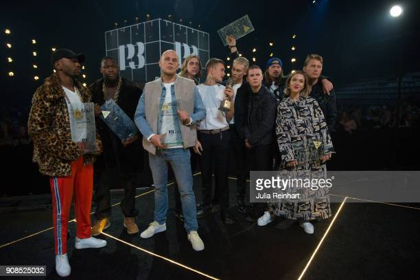 The award winners of the P3 Guld Gala Swedish Radio's celebration of the best in Swedish Music pose for a group shot on January 20 2018 at Partille...