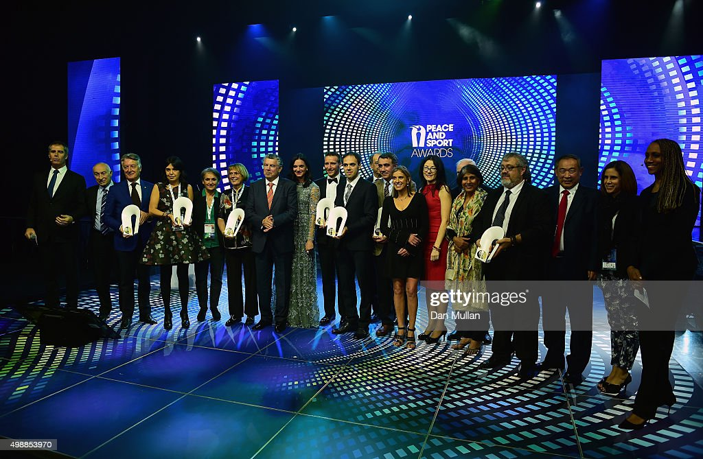 The Award Winners pose for a group photo during the Peace & Sport Gala Dinner at the Sporting Club on November 26, 2015 in Monaco, Monaco.
