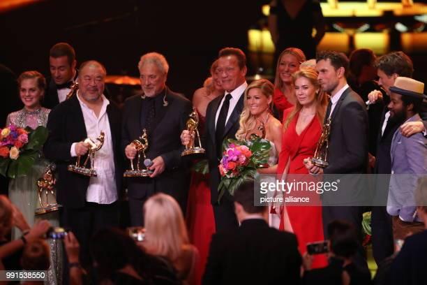 The award winners the actress Alicia von Rittberg presenter Kai Pflaume artist Ai Weiwei singer Tom Jones presenter Barbara Schoeneberger artor...