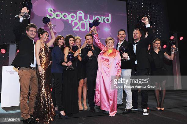 The awarded actors pose for the media during the German Soap Awards 2012 at Kosmos Kino on October 26 2012 in Berlin Germany
