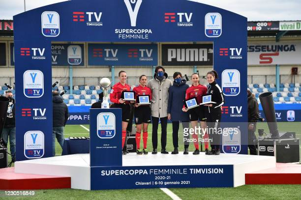The awarded Referees during the Women's Super Cup Final match between Juventus and ACF Fiorentina at Stadio Comunale on January 10, 2021 in Chiavari,...