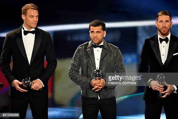 The awardees for the FIFA FIFPro World11 award FC Bayern Munich and Germany's goalkeeper Manuel Neuer Juventus FC and Brazil's defender Dani Alves...