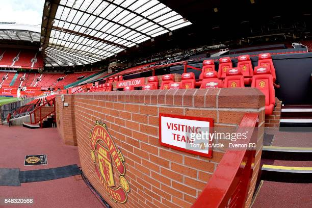 The away dugout before the Premier League match between Manchester United and Everton at Old Trafford on September 17 2017 in Manchester England