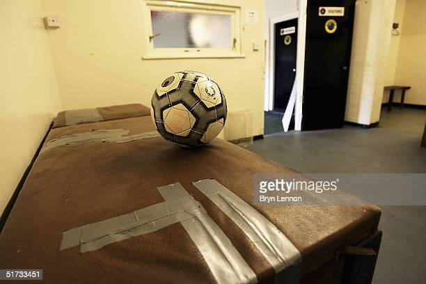 The away team changing room is seen at Histon's ground The Bridge prior to the FA Cup match between Histon FC and Shrewsbury Town on November 12 2004...