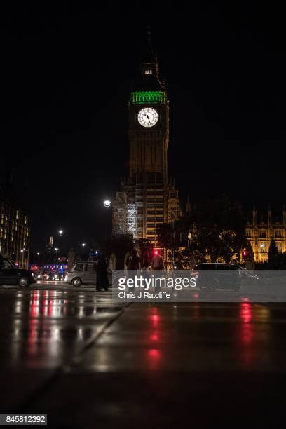 The Ayrton light shines in Queen Elizabeth Tower commonly known as Big Ben marking that the House of Commons is sitting late into the night as...