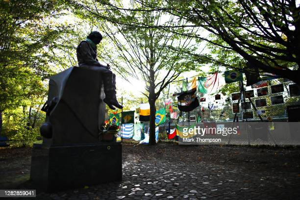 The Ayrton Senna tribute is pictured during previews ahead of the F1 Grand Prix of Emilia Romagna at Autodromo Enzo e Dino Ferrari on October 29,...