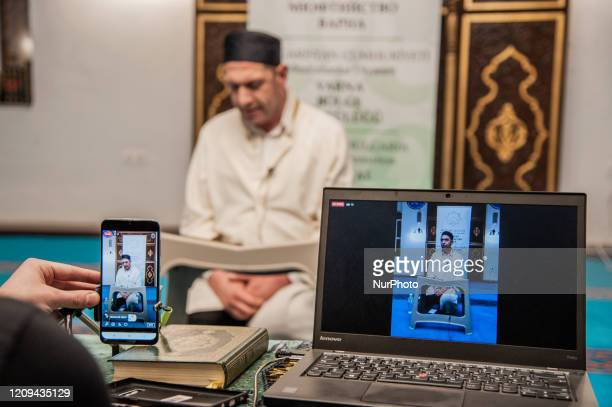 The Azazie Mosque livestream in facebook for Muslim community to pray from home, Varna, Bulgaria on April 07, 2020. Muslism meet the Night of Baraat...