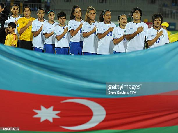 The Azerbaijan Team sing the national anthem before the FIFA U17 Women's World Cup 2012 group A match between Canada and Azerbaijan at Dalga Arena on...