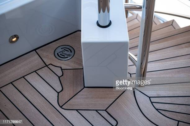 The Azimut Benetti SpA logo sits on a upper deck drainage cap on board luxury superyacht Metis during the Monaco Yacht Show in Port Hercules Monaco...