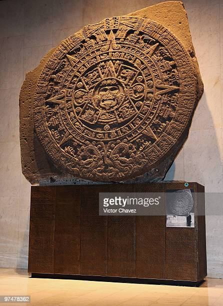 The Aztec calendar stone Mexica sun stone or Stone of the Sun is a large monolithic sculpture that was excavated in the Zocalo is part of the Mexica...
