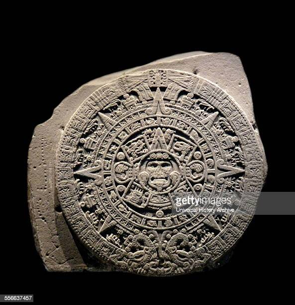 The Aztec calendar stone Sun stone or Stone of the Five Eras is a late postclassic Mexican sculpture saved in the National Anthropology Museum Mexico...