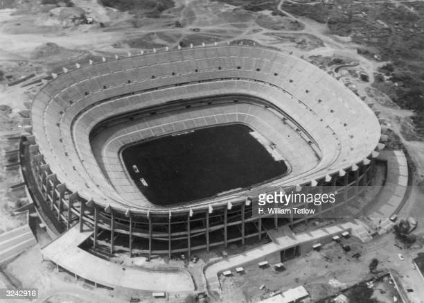 The Aztec Stadium in Mexico City built to host the football competition in the 1968 Mexico Olympics October 28 1966