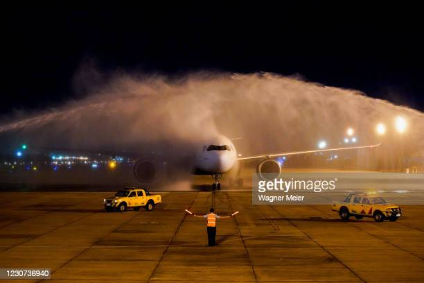 The Azul airline commercial flight aircraft which transported from Sao Paulo to Rio de Janeiro the Oxford / AstraZeneca vaccines arrives at the Tom...