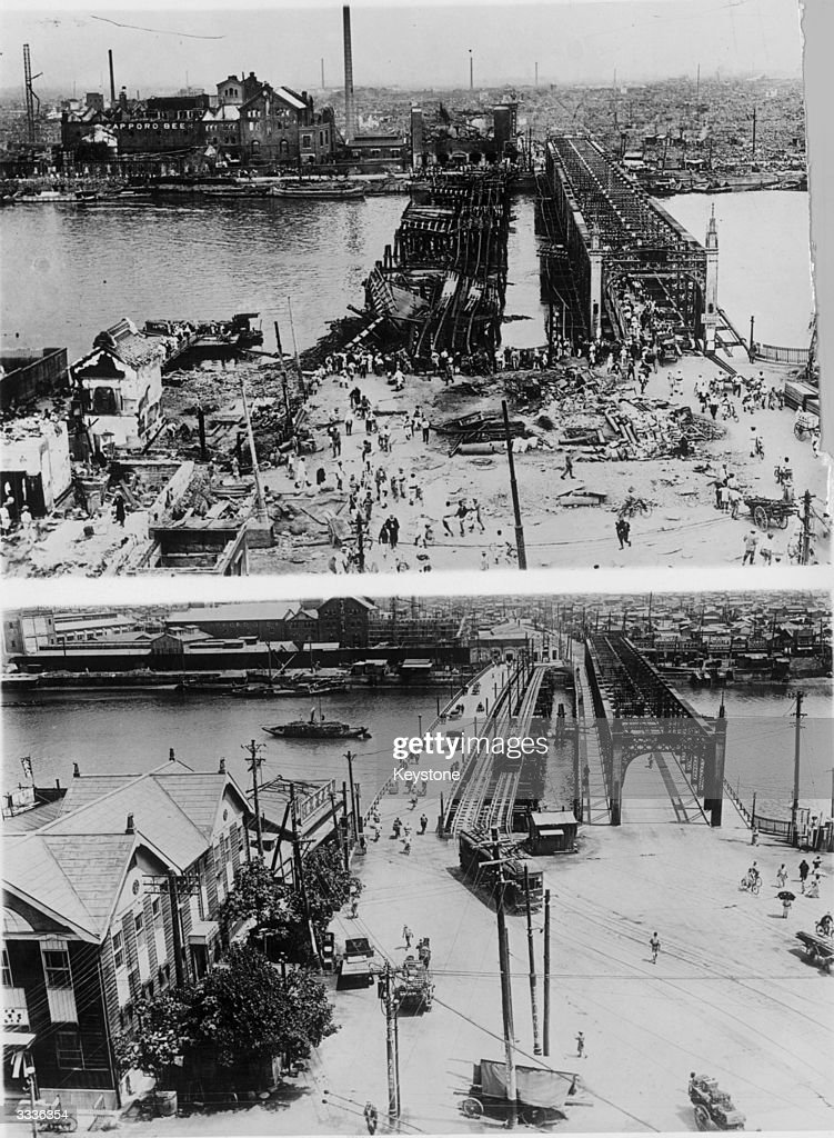 The Azume Bridge, Tokyo before and after being rebuilt four years after an earthquake which devastated the city in 1923.