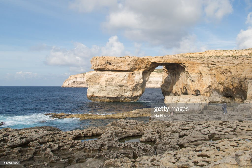The Azure Window, a limestone natural arch on the island of Gozo in Malta on 1 February 2017. Azure Window was collapsed during a severe storm on 8 March 2017