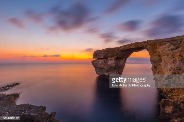 The Azure Window natural arch at sunset