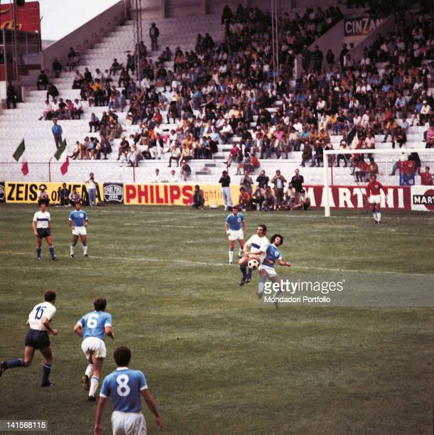 The Azzuri in action at the semi final of the World Cup Championship played between Italy and West Germany with the final score 43 to Italy held at...