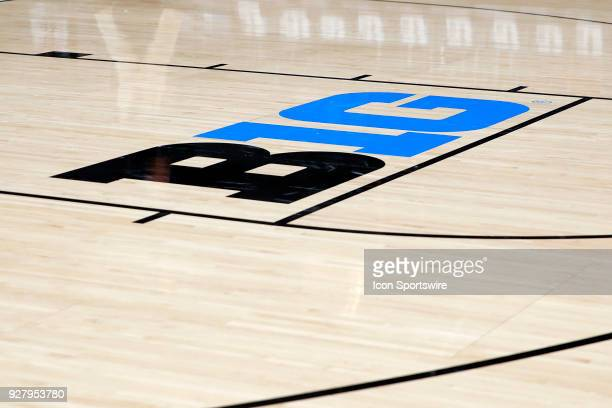 The B1G logo along the free throw line during the Big Ten Women's Championship game between the Ohio State Buckeyes and Maryland Terrapins on March 4...